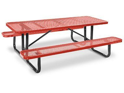 8u0027 Rectangle Picnic Tables   Red By Uline. $700.00. Metal Picnic Tables