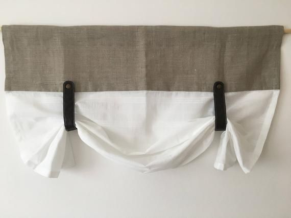 Linen Curtains Kitchen Valance Faux Leather Tie Up Country Curtain Rustic Farmhouse Window Treatments Primitive French Curtain Natural Flax