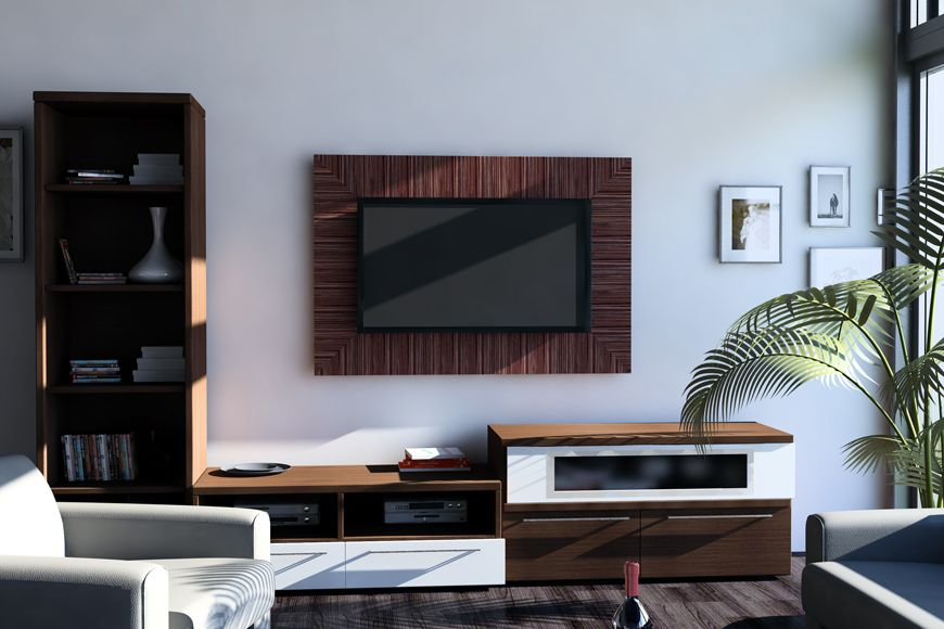 TV Wood Panel WoodnGocom TV Wall Panels Exotic Wood