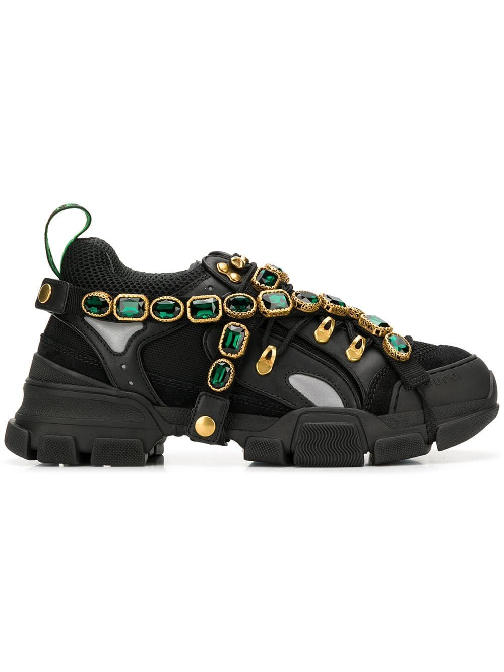 2cf44125167 GUCCI GUCCI FLASHTREK SNEAKERS WITH REMOVABLE CRYSTALS - BLACK.  gucci   shoes
