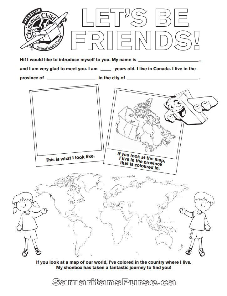 Download the Let's Be Friends coloring sheet it's a