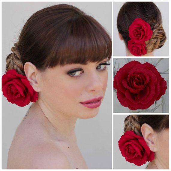 f34408fde1 Classic Rose Bridal Wedding Bride Hair Flower Hair Clip in True Red ~  Barcelona on Etsy, $18.00