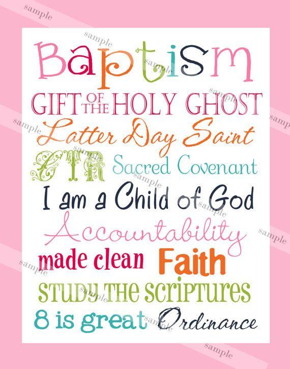 LDS Girl Baptism Subway Art - Instant Download | Pinterest ...