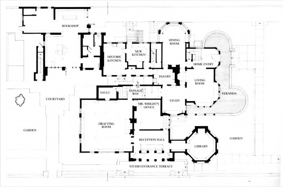 Frank Lloyd Wright Home And Studio Oak Park Ill 1st Floor Plan As It Is Today Frank Lloyd Wright Homes Workplace Design Frank Lloyd Wright