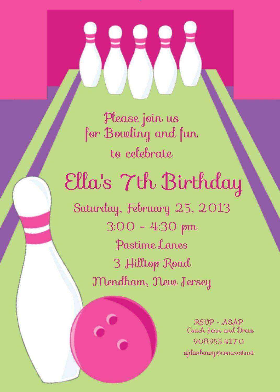 girl bowling party personalized custom digital birthday invitation ...