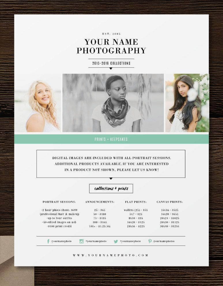 Price List Template Photographer Pricing by designbybittersweet - photography flyer