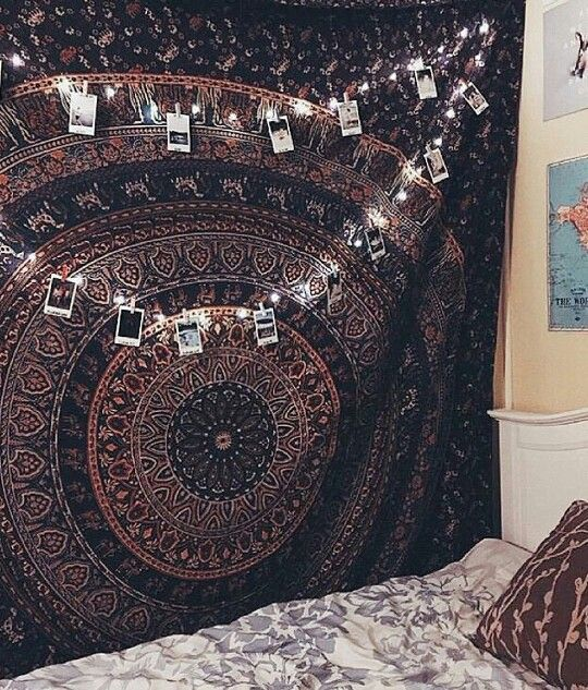 High Quality Picture/Polaroid Display From A String Of Lights; Mandala Tapestry;  Bohemian Style Bedroom Amazing Ideas