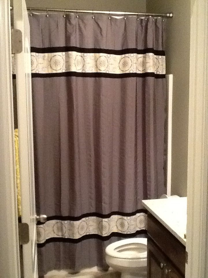 Long Length Shower Curtains Take A Standard Shower Curtain And Add Fabric This Works Great For Homes With High Ceilings Our Home Home Decor Shower Curtain