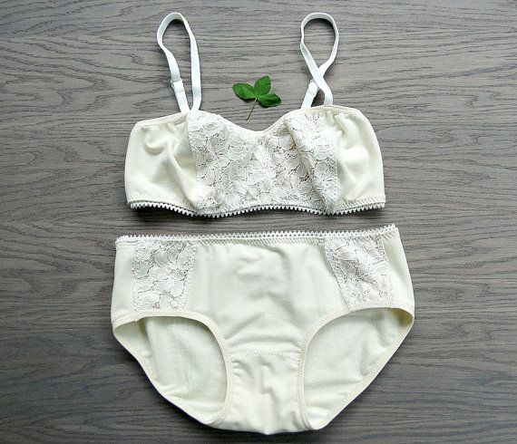 bamboo organic cotton long bralette and panties lingerie set made to order
