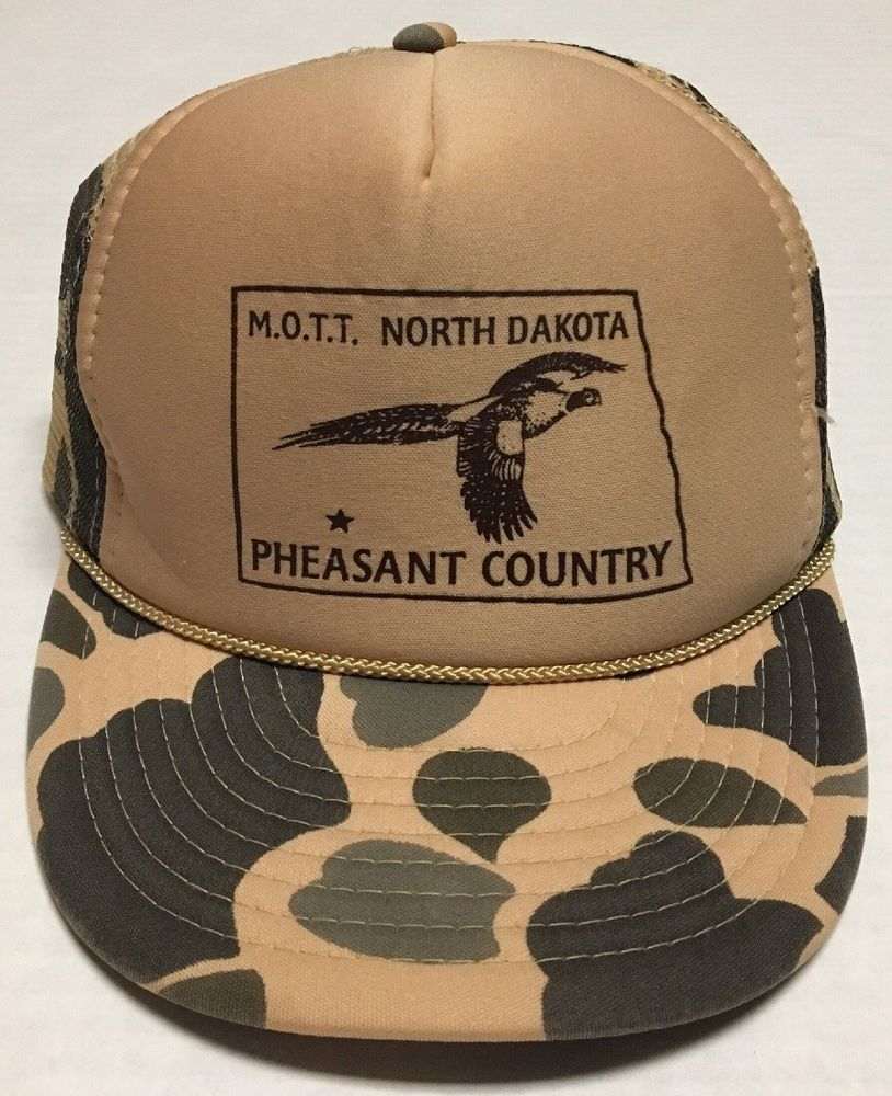 Vtg Mott North Dakota Trucker Hat Pheasant Country Hunting Camo Hunter Bird  Cap  Nissin  Trucker 55603e65ffd