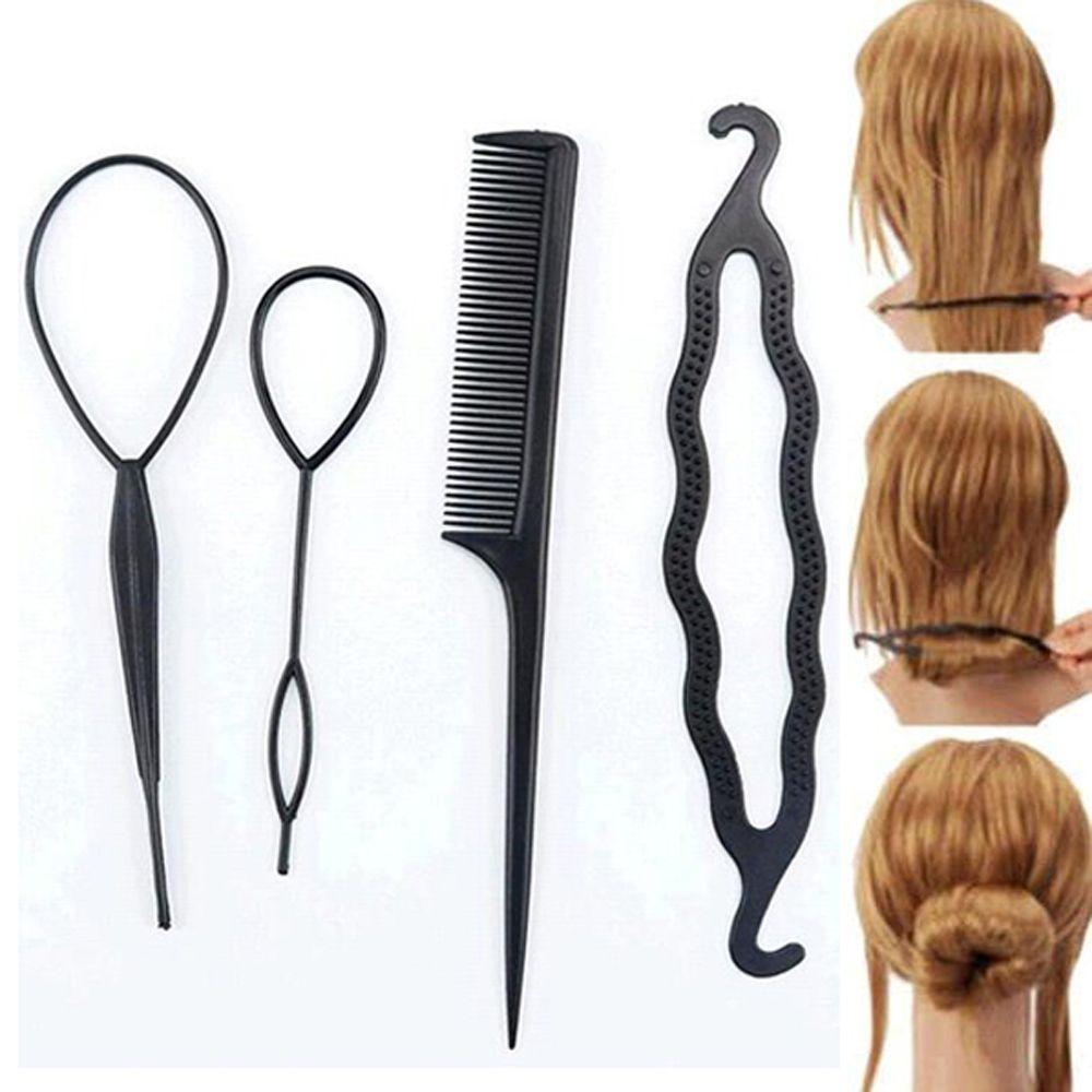 4 Pc Set Susan Cabelo Torcao Styling Clipe Vara Bun Criador Braid Acessorios Ferramentas De Cabelo Quen Hair Bun Maker Bun Maker Hairstyles Hair Braiding Tool