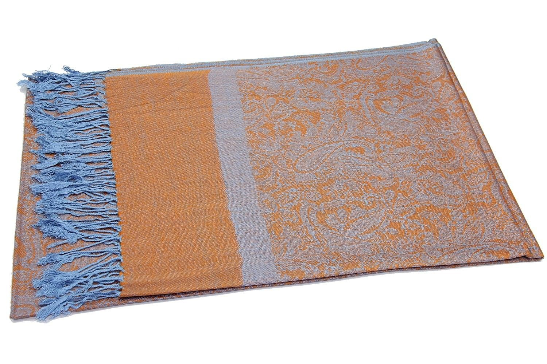 fce75923a89 Two Tone Vintage Jacquard Paisley Pashmina Shawl Wrap Scarf - Orange ...