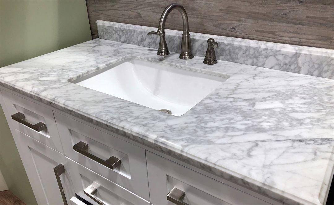 Carrara Marble Bathroom Vanity In 2020 Cultured Marble Countertops Marble Countertops White Bathroom Cabinets