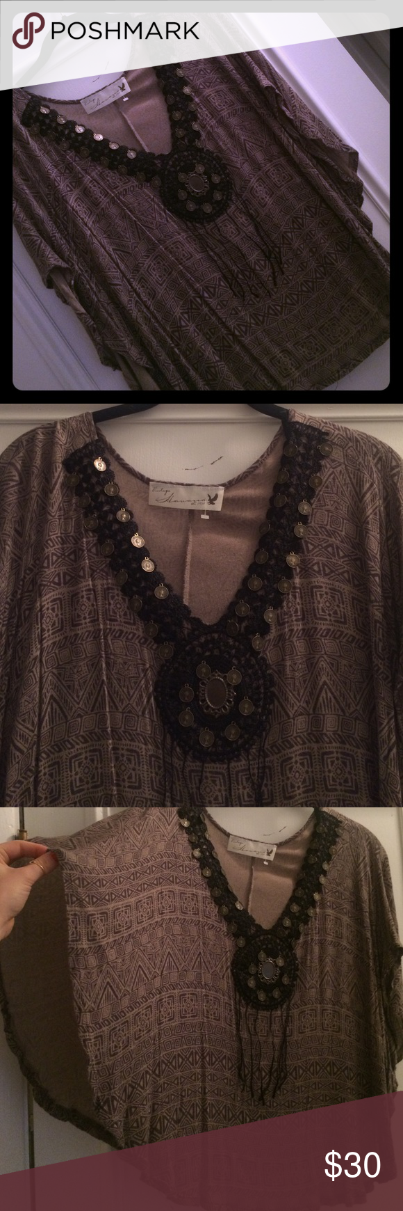 """Poncho shirt This supper unique Aztec/gypsy looking poncho shirt is sure to be a hit any time you wear it. It's so unique and looks great with a little black bralet under it. In great condition, worn only a few times. Since it is open on the sides there is no real size but I would say small/medium. It looks free people but I believe I got it from Nordstrom or a botique, tag says """"vintage Havana"""" Vintage Havana Tops Blouses"""