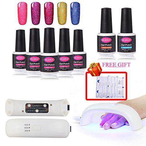 Clavuz 5pcs Gel Nail Polish Kit Soak Off Uv Led Neon Bling Nail