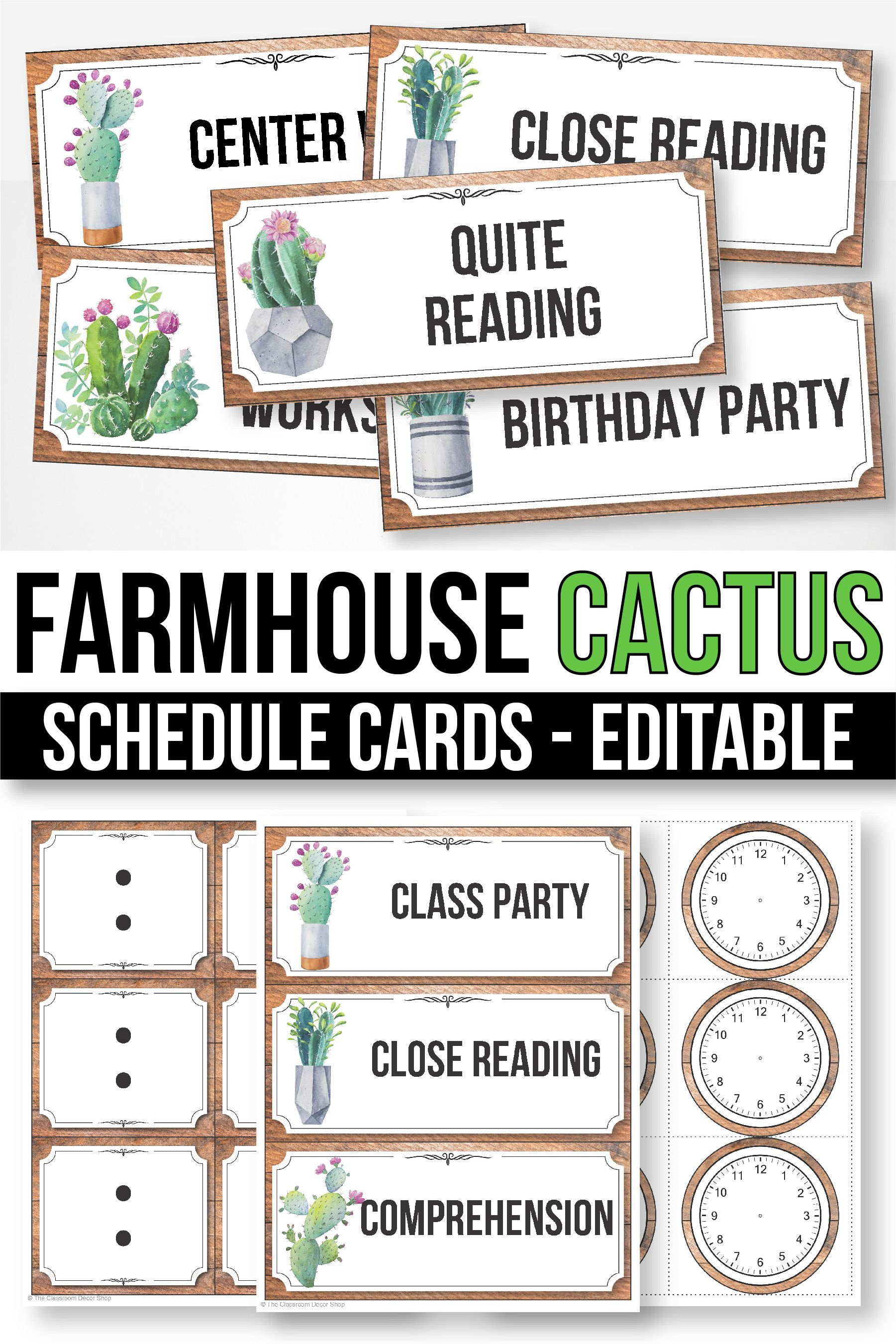 Editable Schedule Cards With Clipart Daily Schedule Cards