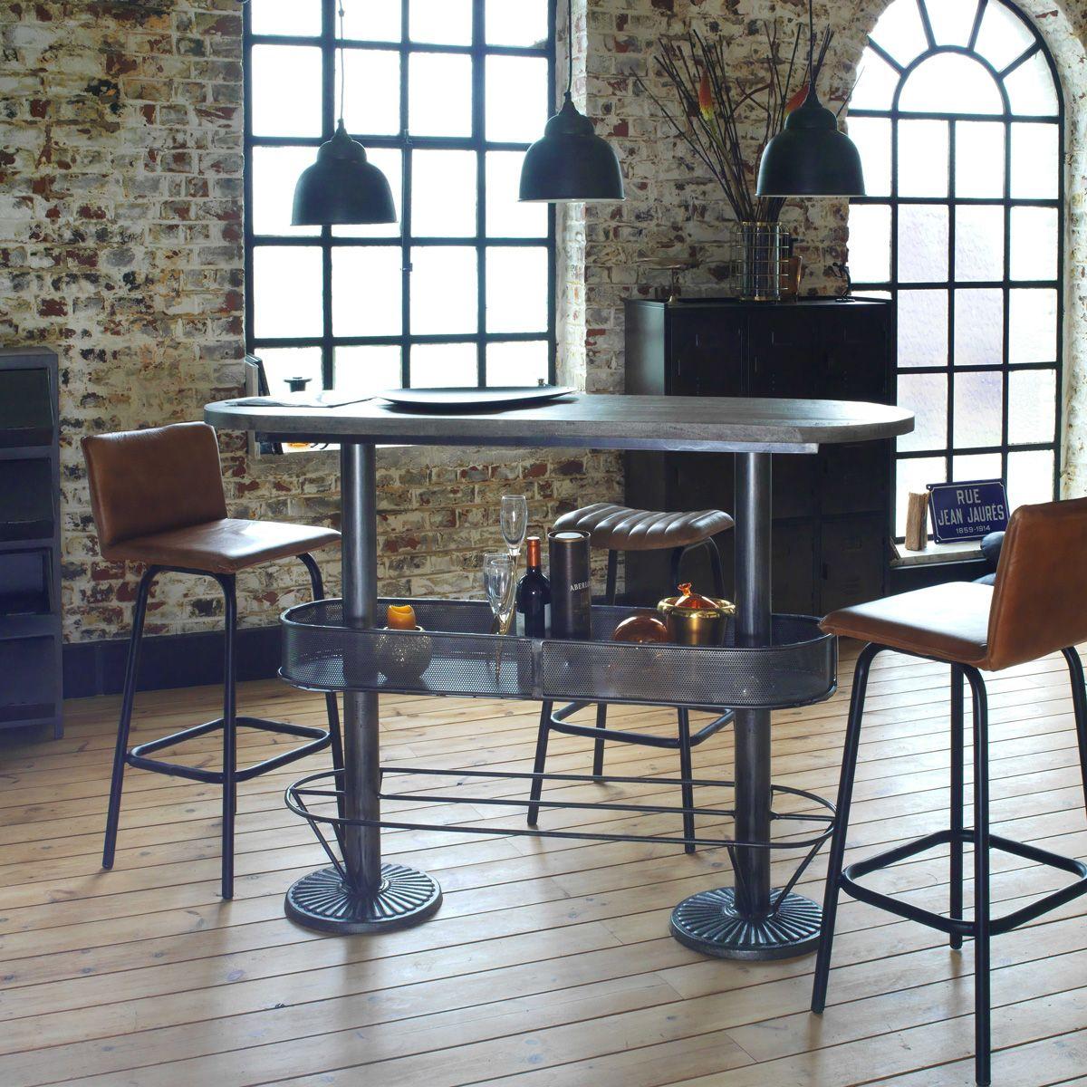 Table Haute Ovale Bois Metal Patine Grise Avec Rangement Table