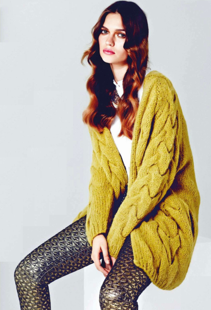 yellow oversized cable knit cardigan, fashion long sleeves loose ...
