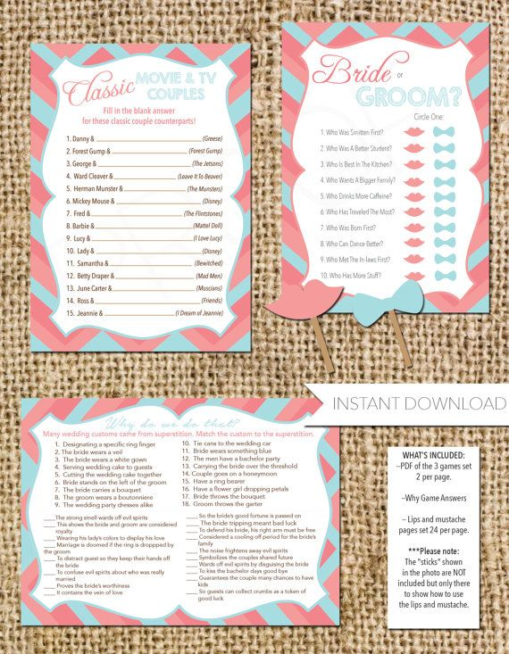 bridal shower games set of 3 how well do you know the bride