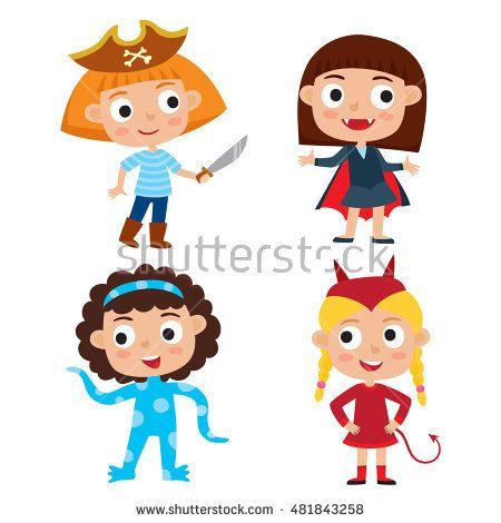 Vector set of cartoon children in colorful halloween costumes ...