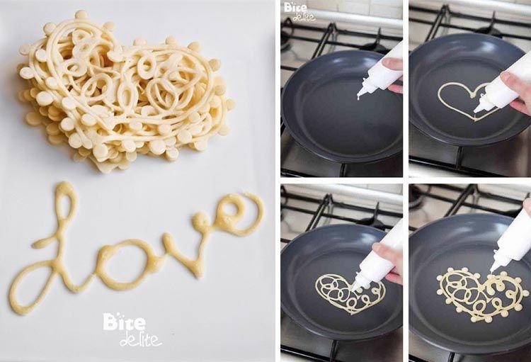 Love heart pancakes