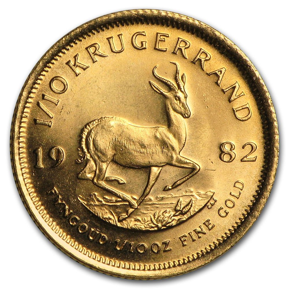 1982 South Africa 1 10 Oz Gold Krugerrand A7765 Gold Krugerrand Gold Bullion Coins Gold Bullion