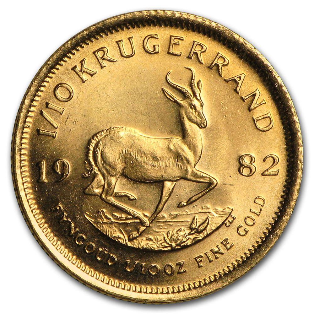 1982 South Africa 1 10 Oz Gold Krugerrand A7765 Gold Krugerrand Gold Bullion Coins Gold Bullion