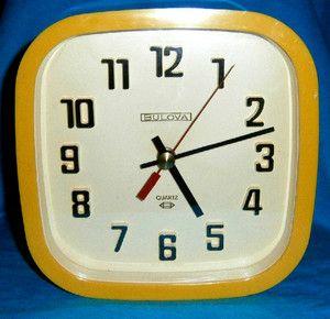 Retro Vintage Bulova Yellow Plastic Wall Clock Canada Runs Well Mid Century Mod Clock Wall Clock Retro Vintage