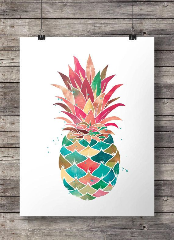 aquarell ananas printable wandkunst von southpacific auf. Black Bedroom Furniture Sets. Home Design Ideas