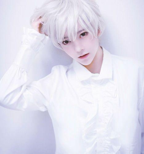 Men Handsome Boys Short Silver White Heat Resistant Hair Cosplay