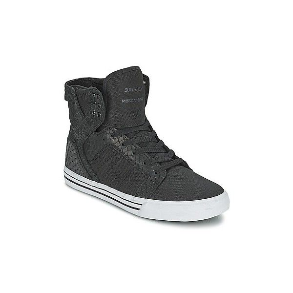 Supra SKYTOP Shoes (High-top Trainers) (£80) ❤ liked on Polyvore featuring shoes, sneakers, high top trainers, women, white high top sneakers, black leather sneakers, black hi top sneakers, leather sneakers and supra sneakers