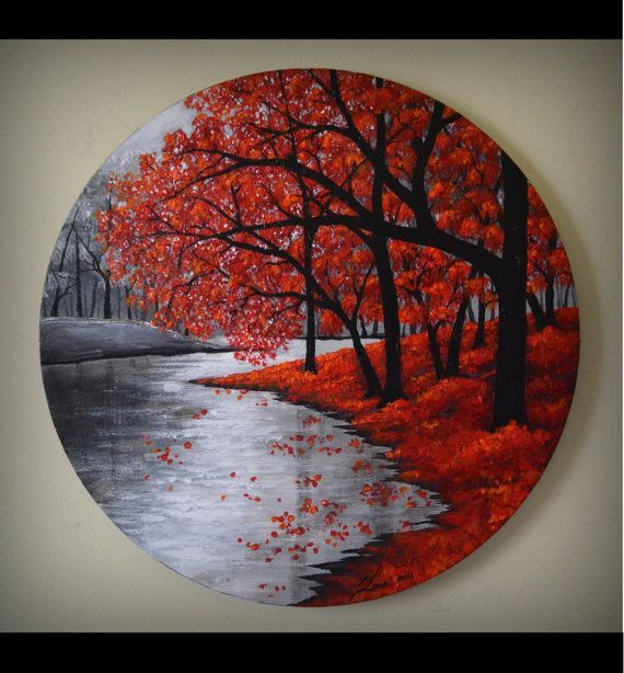 Original Fine Art Abstract Landscape Contemporary Autumn Forest Acrylic Painting Home Decor 20 Round Canvas