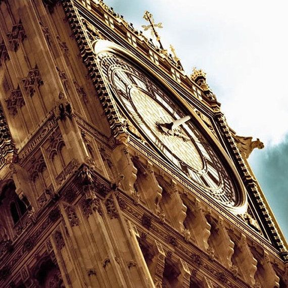 London Photography Big Ben photo Gold brown and blue by Raceytay, $30.00
