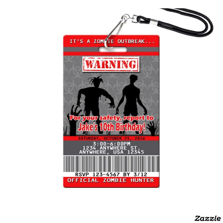 Zombie Birthday Invitations Plastic VIP Pass Vip pass and Birthdays