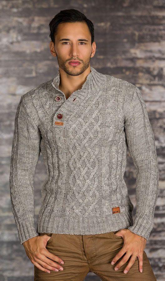 pull homme gris en tricot par knitting pinterest cable grey and tricot. Black Bedroom Furniture Sets. Home Design Ideas