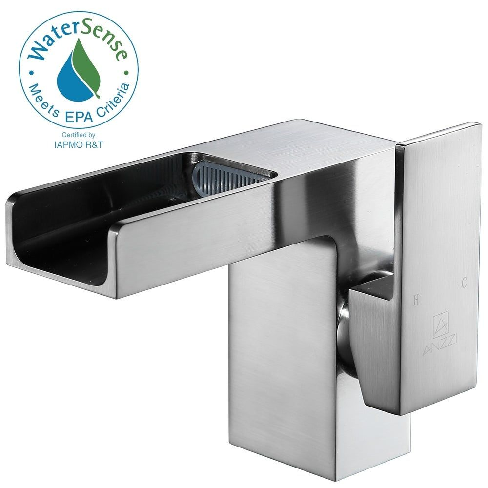 Photo of ANZZI Zhona Single Hole Single-handle Low-arc Bathroom Faucet in Brushed Nickel (Silver), Gray