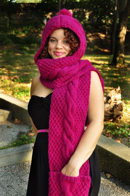 Trifecta Cable Knit Hooded Scarf With Pockets Knitting Pattern