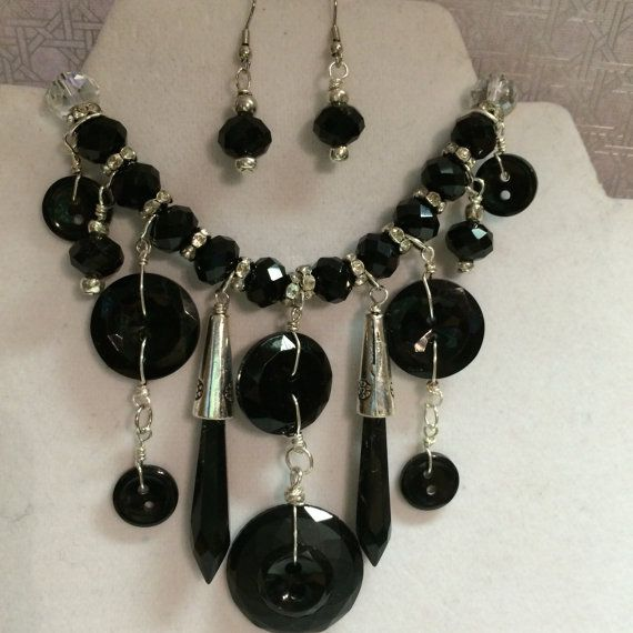 Black Vintage Button and Bead Necklace by BornAgainButtons on Etsy, $24.00