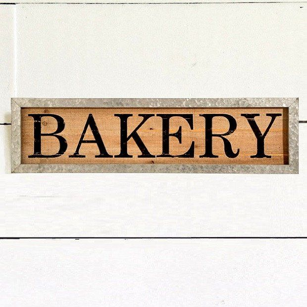 Metal Framed Wooden Bakery Sign Bakery Sign Tiny House Decor Bakery
