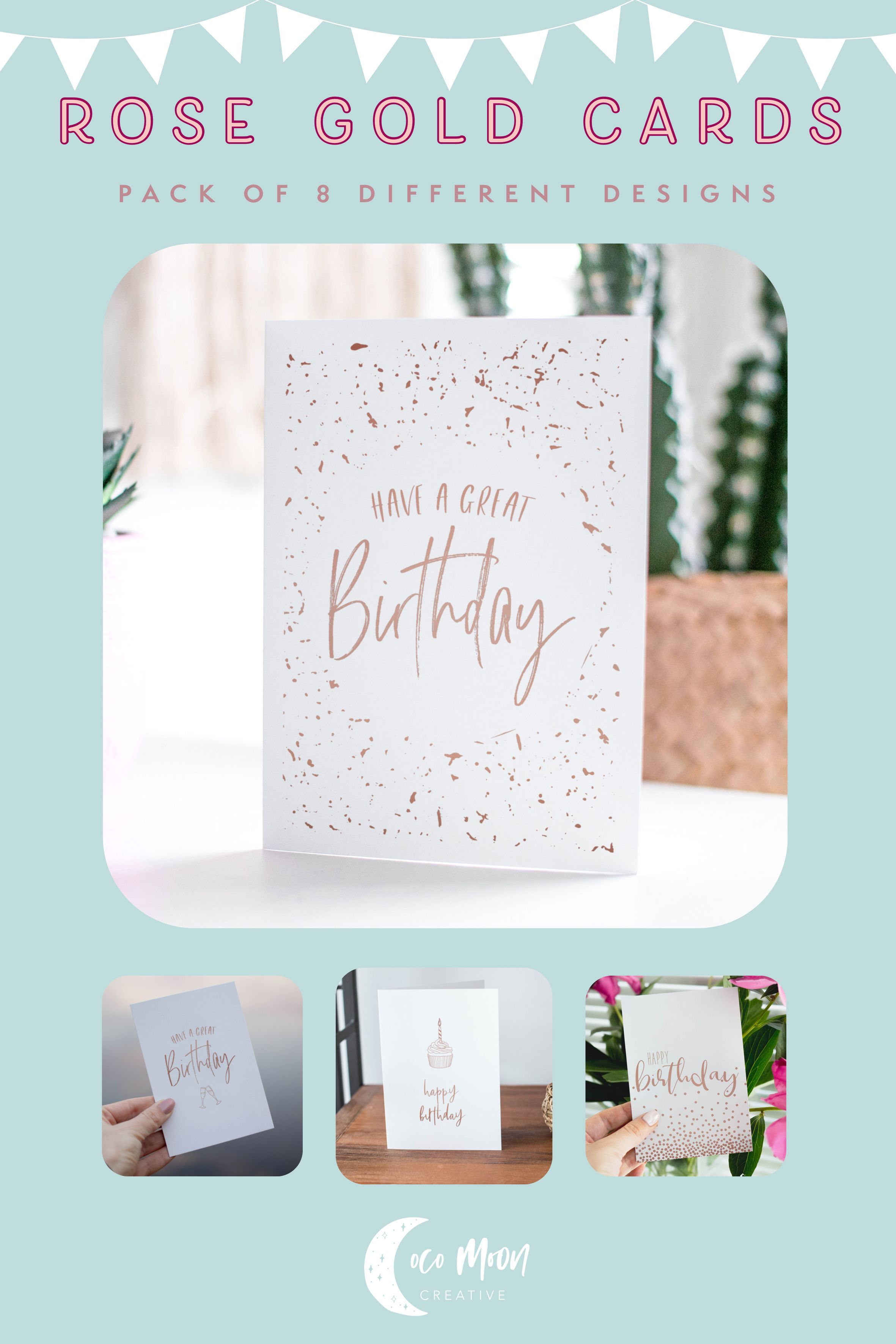 Pack Of 8 A6 Cards Rose Gold Foil Mixed Design Birthday Etsy Cards Birthday Cards Rose Gold Foil