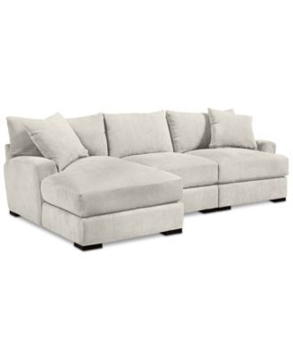 Furniture Rhyder 3 Pc Fabric Sectional Sofa With Chaise Created For Macy S Reviews Furniture Macy S Sectional Sofa With Chaise Fabric Sectional Sofas Sectional Sofa