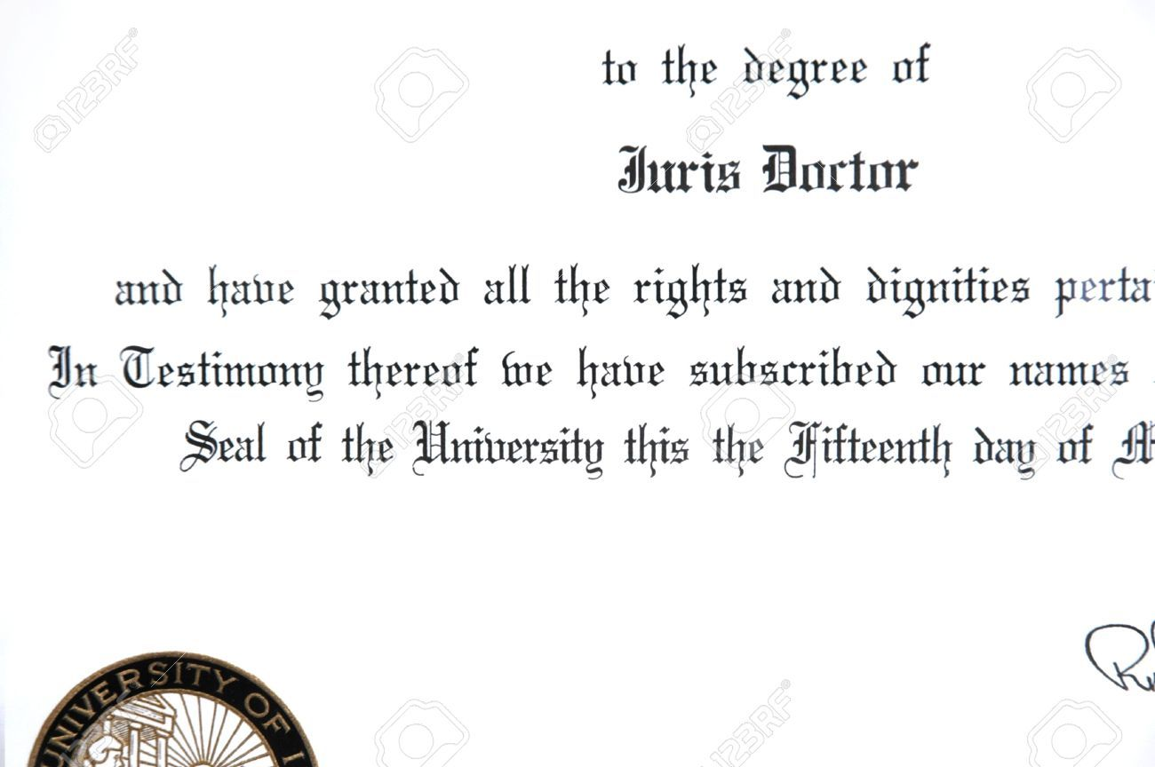 Close Up Of Juris Doctorate Law Degree Certificate For Doctorate