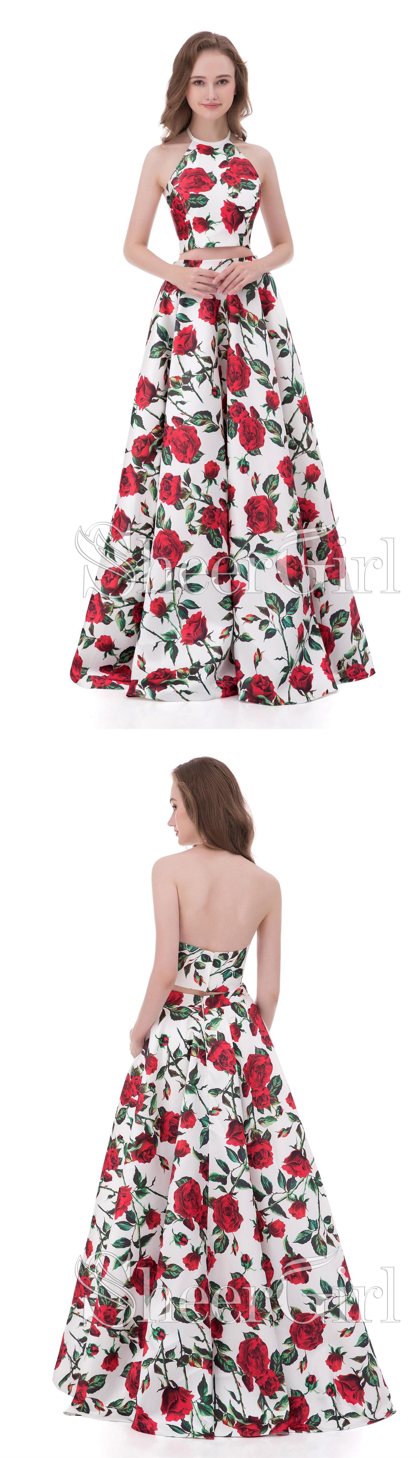 A-line/Princess Halter Two Piece Floral Cheap Prom Dresses APD3056