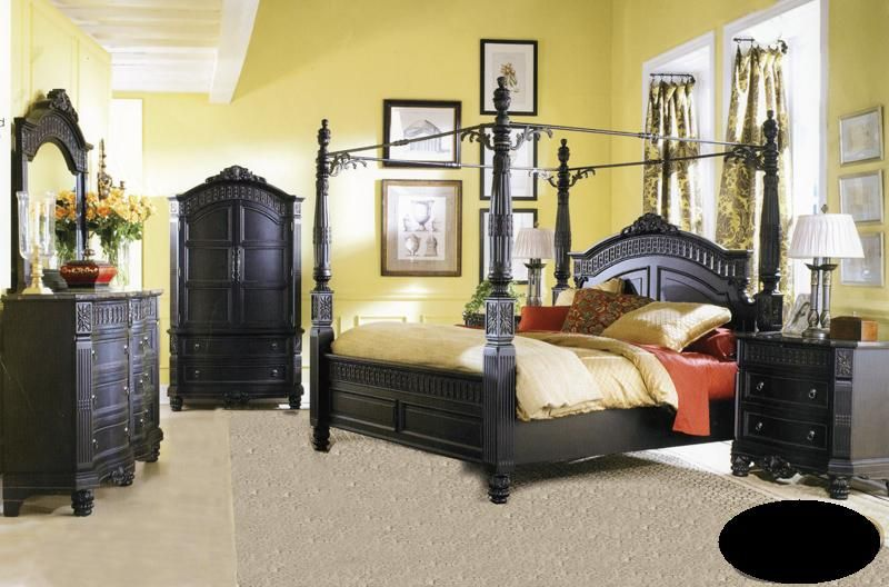 Attractive Queen Size Bedroom Set Using Four Poles And There Are Several Dresser Sets Photo