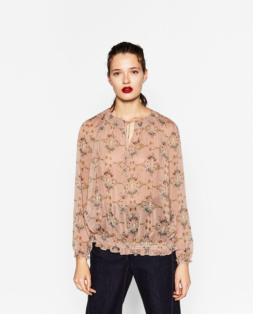 Zdjecie 2 Wzorzysta Bluzka W Kwiaty Z Zara Floral Print Blouses Fashion Tops