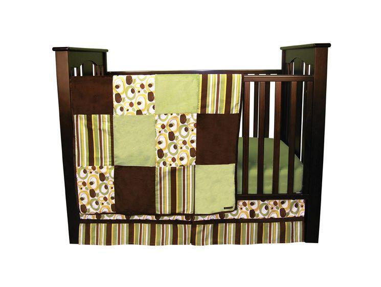 Giggles 3 Piece Crib Bedding Set In Sage Crib Bedding