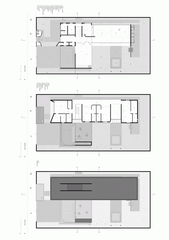 Floor plans of Modern Planalto House by Flavio Castro Modern