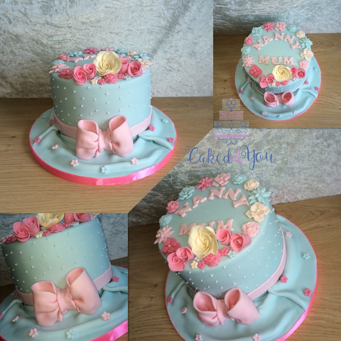 Shabby Chic Themed Birthday Cake With Handmade Flowers And Bow