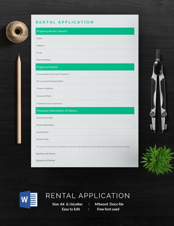 Application For Employment Template Free Magnificent Rental Application Template  13 Free Application Templates .