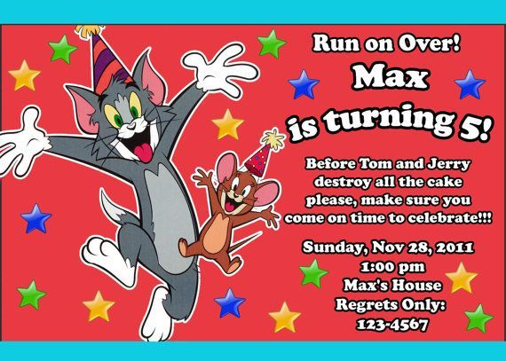 Download FREE Template Tom and Jerry Birthday Invitations Baby